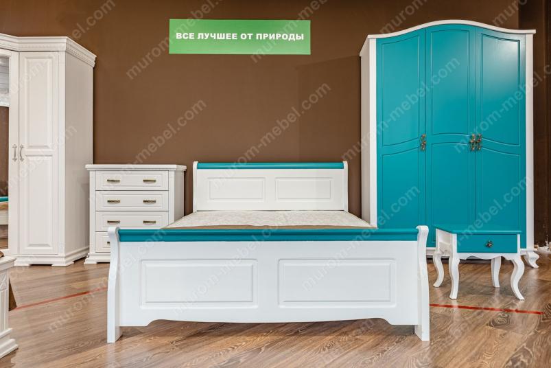Кровать Прованс Скай (белая эмаль + бирюзовая эмаль RAL 5018)