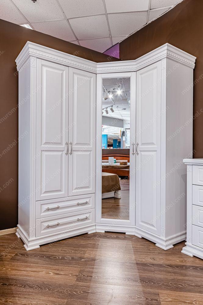 Шкаф угловой Флоренция (белая эмаль)