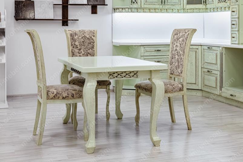 Кухонный стол Лотос (фисташка с коричневой патиной)