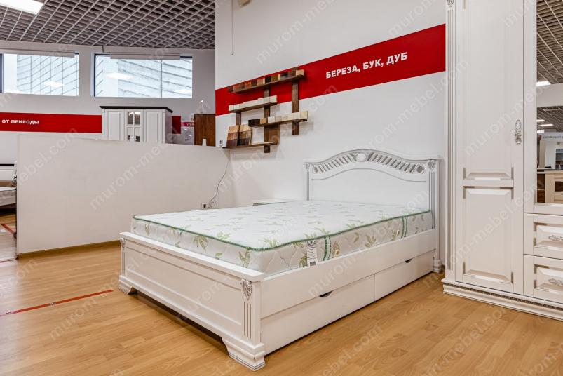 Кровать Оливия (белая эмаль с серебряной патиной)