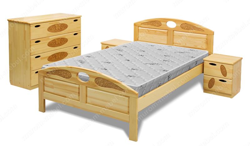 Кровать Галатея (сосна, резьба береза)