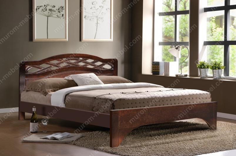 Кровать Вирсавия (сосна, резьба береза)