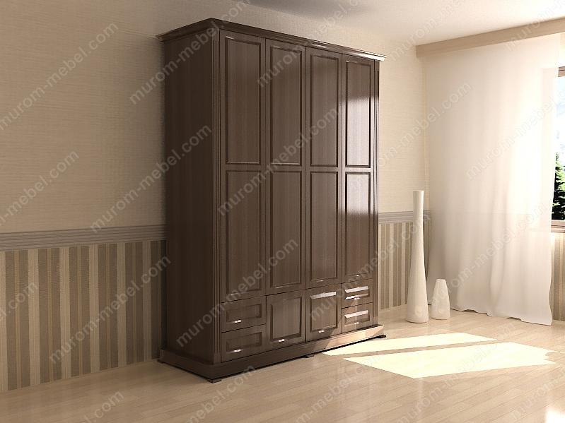 Шкаф четырехстворчатый с нижней антресолью из серии