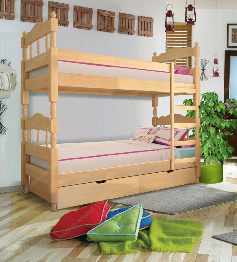 Кровать двухъярусная точеная